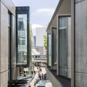 Tall glass boxes provide dramatic display windows at architecture, building, gray