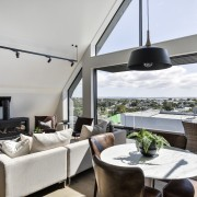 With a view – a clever reallocation of interior design, living room, penthouse apartment, real estate, window, gray, white