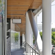 The PwC Centre's buckling-restrained brace system is exposed architecture, balcony, daylighting, house, structure, gray