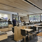 A café enlivens the lift and circulation lobby cafeteria, interior design, restaurant, gray