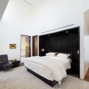 The closet is contained in a separate room bed frame, bedroom, ceiling, floor, interior design, property, real estate, room, suite, wall, gray, white