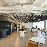 The shared cafe area in the new Z cafeteria, ceiling, interior design, office, white