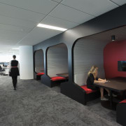 Sculptural conversation booths are just one of many architecture, ceiling, interior design, office, product design, gray, black