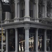 16 Zha Il Makiage Photo By Paul Warchol arcade, architecture, building, city, classical architecture, downtown, facade, landmark, metropolis, metropolitan area, street, structure, window, black, gray