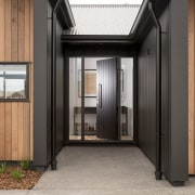 6 Hoiho Place Entrance architecture, facade, home, house, property, real estate, wood, gray, black