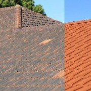 Before and after brick, brickwork, facade, outdoor structure, roof, roofer, sky, wall, wood, wood stain, orange, gray