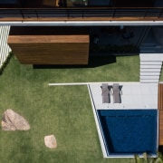 Looking down from above architecture, backyard, daylighting, facade, floor, grass, house, lawn, outdoor structure, real estate, roof, wood, brown