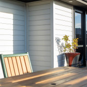 Internal And External Box Corners Feature On Envira deck, door, facade, home, house, outdoor structure, porch, real estate, shade, siding, window, window blind, window covering, window treatment, wood, gray