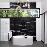 See more of this bathroom hereDesigned by Leslie floor, interior design, living room, room, wall, gray