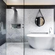 See more of this bathroom hereDesigned by Darren bathroom, bidet, ceramic, floor, interior design, plumbing fixture, room, tap, tile, white, gray