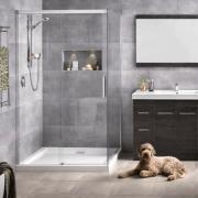Motio offers a luxurious soft close sliding door bathroom, bathroom accessory, door, floor, flooring, interior design, plumbing fixture, room, tap, tile, gray