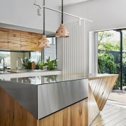 In this kitchen by Austin Maynard Architects, the architecture, countertop, furniture, house, interior design, kitchen, table, wood, white, gray