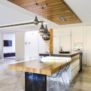 An American oak ceiling panel with inset task architecture, ceiling, countertop, daylighting, floor, furniture, house, interior design, kitchen, table, gray, white