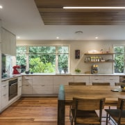 As part of a whole-house renovation, Jason Higham ceiling, countertop, cuisine classique, interior design, kitchen, real estate, gray, brown