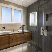 When in use, the shower looks like a bathroom, floor, flooring, interior design, room, sink, tile, wood flooring, gray, black
