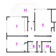 Before plan: 1 entry, 2 kitchen, 3 dining, angle, area, design, diagram, drawing, font, line, pattern, pink, product, purple, square, text, white