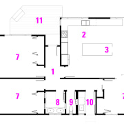After plan: 1 entry, 2 kitchen, 3 dining, angle, area, design, diagram, floor plan, font, line, pattern, pink, product, purple, text, white, white