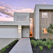 Warm welcome – at this Landmark Homes showhome, architecture, building, elevation, estate, facade, home, house, property, real estate, residential area, siding, sky, window, purple, gray