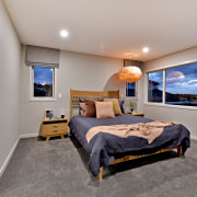 In this Landmark Homes showhome, the Wakefield, the bedroom, ceiling, interior design, real estate, room, gray