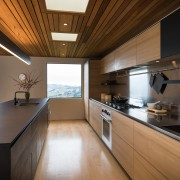 Recessed handles read as long lines, connecting to architecture, countertop, cuisine classique, house, interior design, kitchen, real estate, room, brown