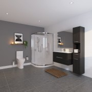 Bathroom by LeVivi bathroom, floor, flooring, interior design, room, sink, gray