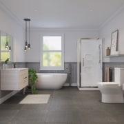 Bathroom by LeVivi architecture, bathroom, daylighting, floor, flooring, home, interior design, plumbing fixture, real estate, room, sink, tile, gray