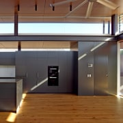 Roar Northcurlcurl House 27S architecture, ceiling, daylighting, floor, house, interior design, loft, real estate, wood flooring, brown
