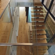 Roar Northcurlcurl House 35S architecture, daylighting, floor, flooring, glass, handrail, hardwood, stairs, wood, brown, gray