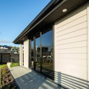 Timber Box Corner Feature On Home Clad With architecture, building, facade, home, house, property, real estate, residential area, siding, window, white, black