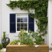 Vegie Patch By Landart Landscapes Credit Jason Busch backyard, courtyard, door, facade, flower, garden, home, house, outdoor structure, plant, real estate, window, yard, white, brown