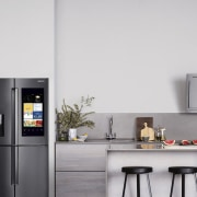 Learn more here home appliance, interior design, kitchen, kitchen appliance, major appliance, refrigerator, small appliance, gray