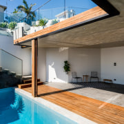 Another view into the pool area architecture, daylighting, estate, home, house, interior design, property, real estate, roof, swimming pool, window, gray