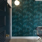 Darker tones in the office are offset by blue, ceiling, glass, home, interior design, room, wall, wallpaper, window, black, gray