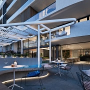 Treehouse at Parkside Walk – MJA Studio apartment, architecture, daylighting, home, house, interior design, real estate, roof, shade, swimming pool, blue