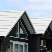 Metrotile metal panels building, daylighting, elevation, facade, home, house, property, real estate, residential area, roof, siding, window, white, black