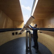 Inside the observatory architecture, daylighting, tourist attraction, wood, brown