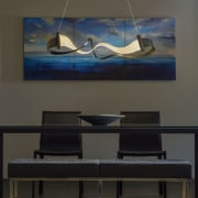 The Zephyr is a playful combination of hand glass, interior design, lamp, light fixture, lighting, lighting accessory, modern art, painting, product design, black, gray
