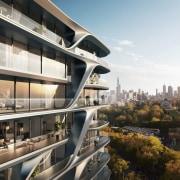 Mayfair Residential Tower – Zaha Hadid Architects apartment, architecture, building, city, condominium, metropolis, metropolitan area, mixed use, property, real estate, reflection, residential area, sky, urban design, white, black