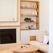Architect: buck&simplePhotography by Tim Pascoe furniture, home, interior design, living room, room, shelf, table, wall, white