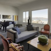 Views of the bay furniture, interior design, living room, property, real estate, room, window, gray