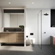 Treehouse at Parkside Walk – MJA Studio bathroom, bathroom accessory, floor, interior design, plumbing fixture, product design, room, sink, gray