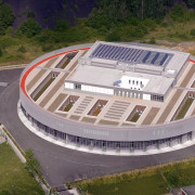 569 firestation aerial photography, bird's eye view, sport venue, stadium, structure, gray, brown