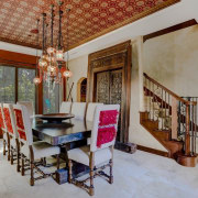 Barkow Dining - Shanna Kerr - Client traveled ceiling, dining room, estate, flooring, home, house, interior design, living room, property, real estate, room, gray, brown