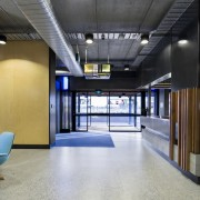 A contemporary lobby leads through to the different architecture, interior design, lobby, gray, black