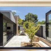 A view to the new outdoor area architecture, courtyard, door, facade, home, house, interior design, property, real estate, window, white, black