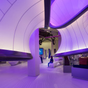 Zaha Hadid – Mathematics: The Winton Gallery – architecture, blue, ceiling, daylighting, interior design, leisure centre, light, lighting, purple, structure, purple