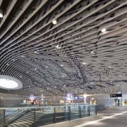 Municipal Offices and Train Station, Delft airport terminal, architecture, building, ceiling, convention center, daylighting, infrastructure, line, metropolis, metropolitan area, structure, gray, black