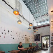Loqui Tacos is one of many hospitality options architecture, ceiling, daylighting, interior design, table, gray