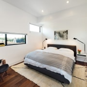 Long windows at different heights light the bedroom architecture, bed frame, bedroom, ceiling, floor, home, interior design, property, real estate, room, white