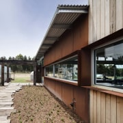 Weathering steel and weathered wood join to further architecture, facade, house, real estate, wood